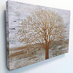 Large Canvas Wall Art for Living Room Office Farmhouse Decor, Goden Tree Paintings Industrial Style Landscape Artwork for Home Bathroom Bedroom, Framed Giclee Nature Pictures Ready to Hang (36Wx48L)