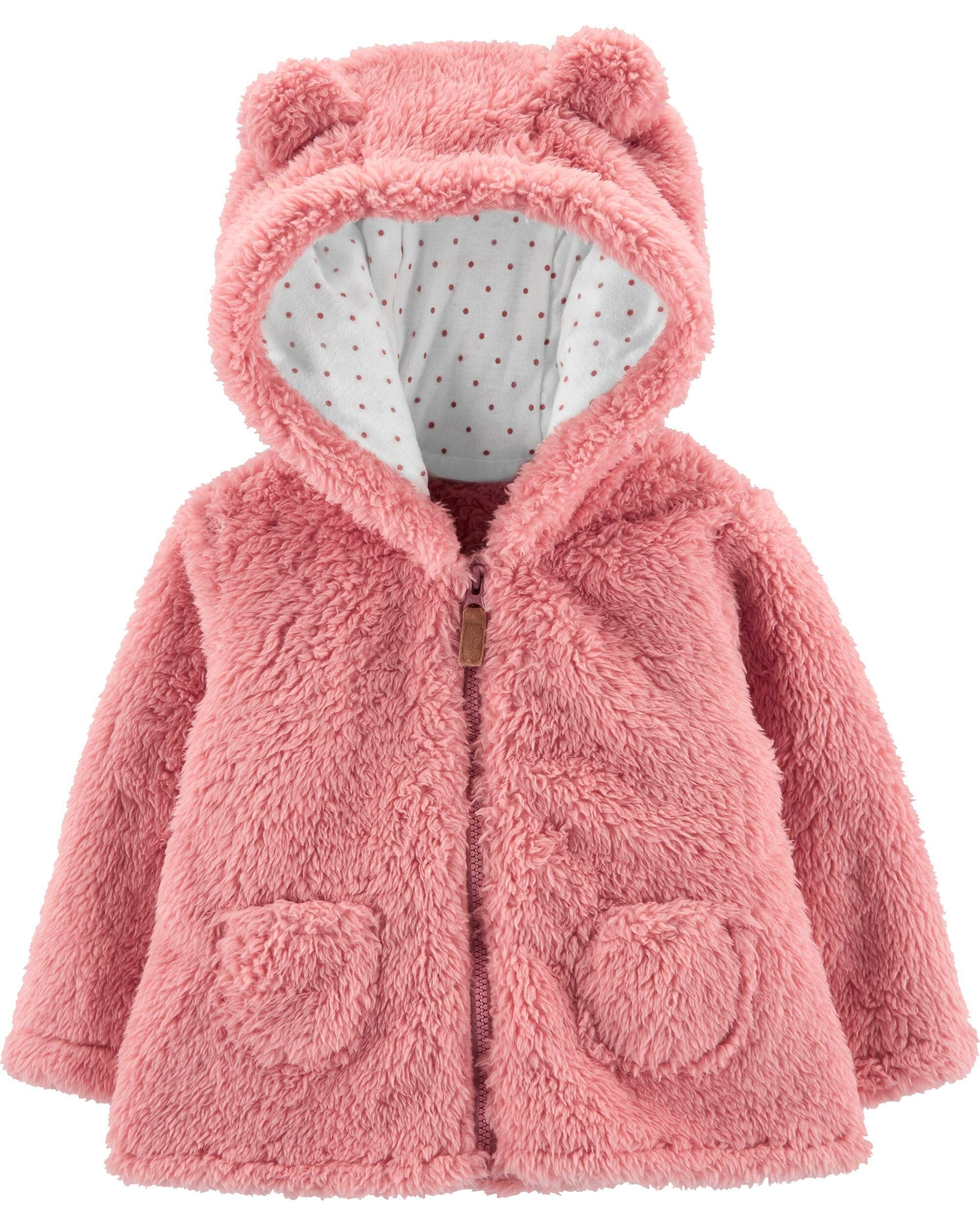 Carter's Zip-Up Sherpa Cardigan Jacket, Pink Sherpa, 18 Months by Carter's