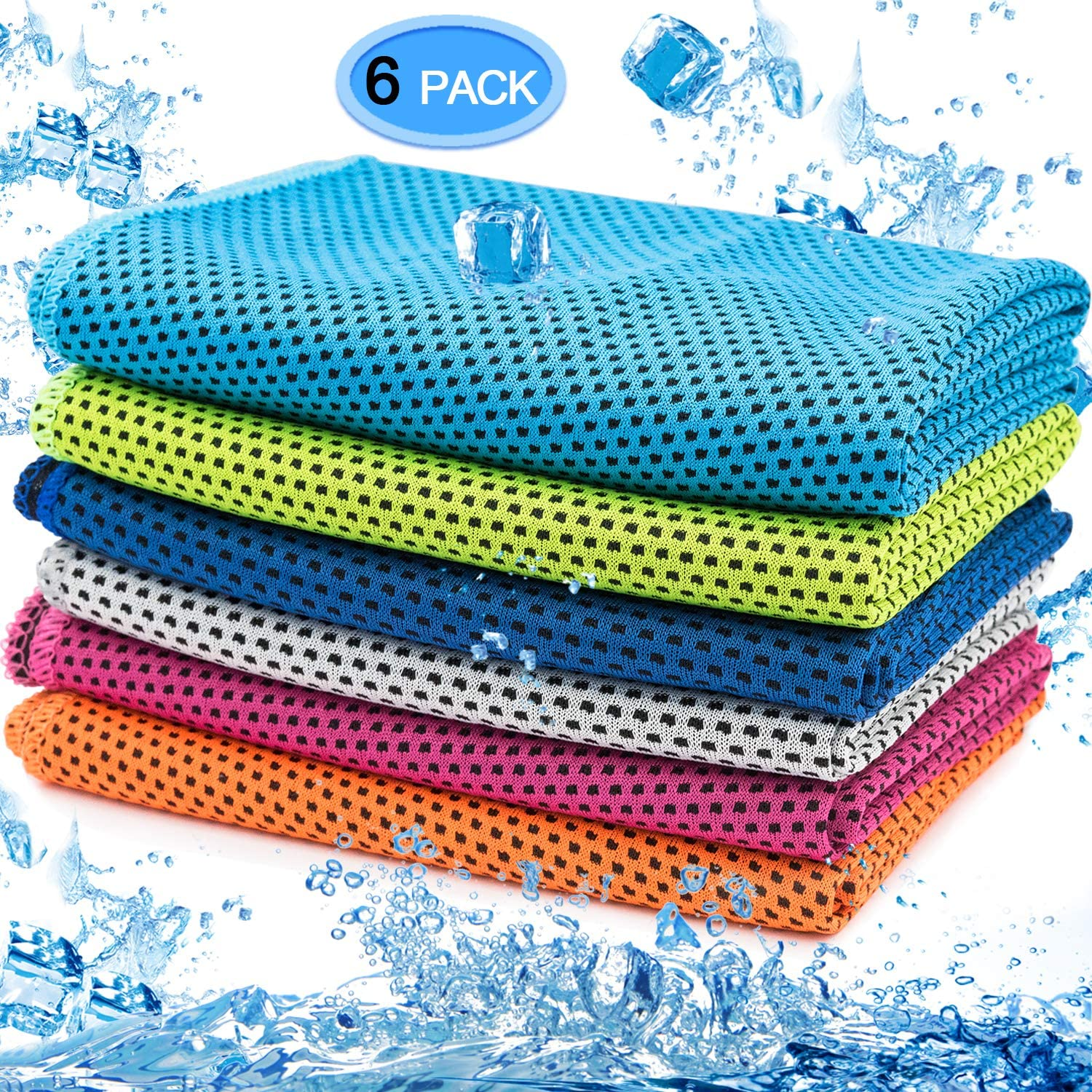 MENOLY 6 Pack Cooling Towel, Ice Towel Microfiber Towel Soft Breathable Chilly Towel for Sports, Gym, Yoga, Workout, Camping, Running, Fitness, Workout & More Activities