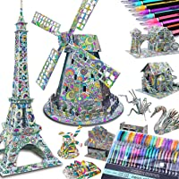 10-Pack Coloring 3D Puzzles, Large Size: 10 Large 3-D Puzzle Models + 48 Gel Pen Markers. Best Gift Arts & Craft, Color & Builder STEM Toys f/Kids 10 &Up. High IQ Educational Gift Talented Kidz