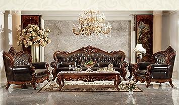Ma Xiaoying Echtes Leder, Massivholz Buche, Traditionelles Wohnzimmer Möbel  Set (Sofa, Liebesschaukel