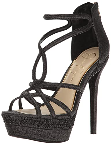 Jessica Simpson Women's Rozmari Heeled Sandal, Black Glitter, 10 Medium US
