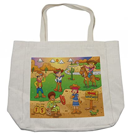e57356c05009 Amazon.com - Ambesonne Cartoon Shopping Bag, Image of Child Cowboy ...
