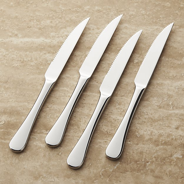 Set of 4 Caesna Mirror Steak Knives | Crate and Barrel