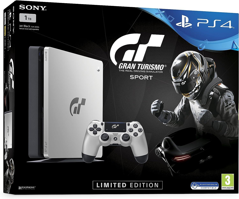 Sony PS4 Slim 1TB + Gran Turismo Sport Limited edition Plata 1000 GB Wifi - Videoconsolas (PlayStation 4, Plata ...
