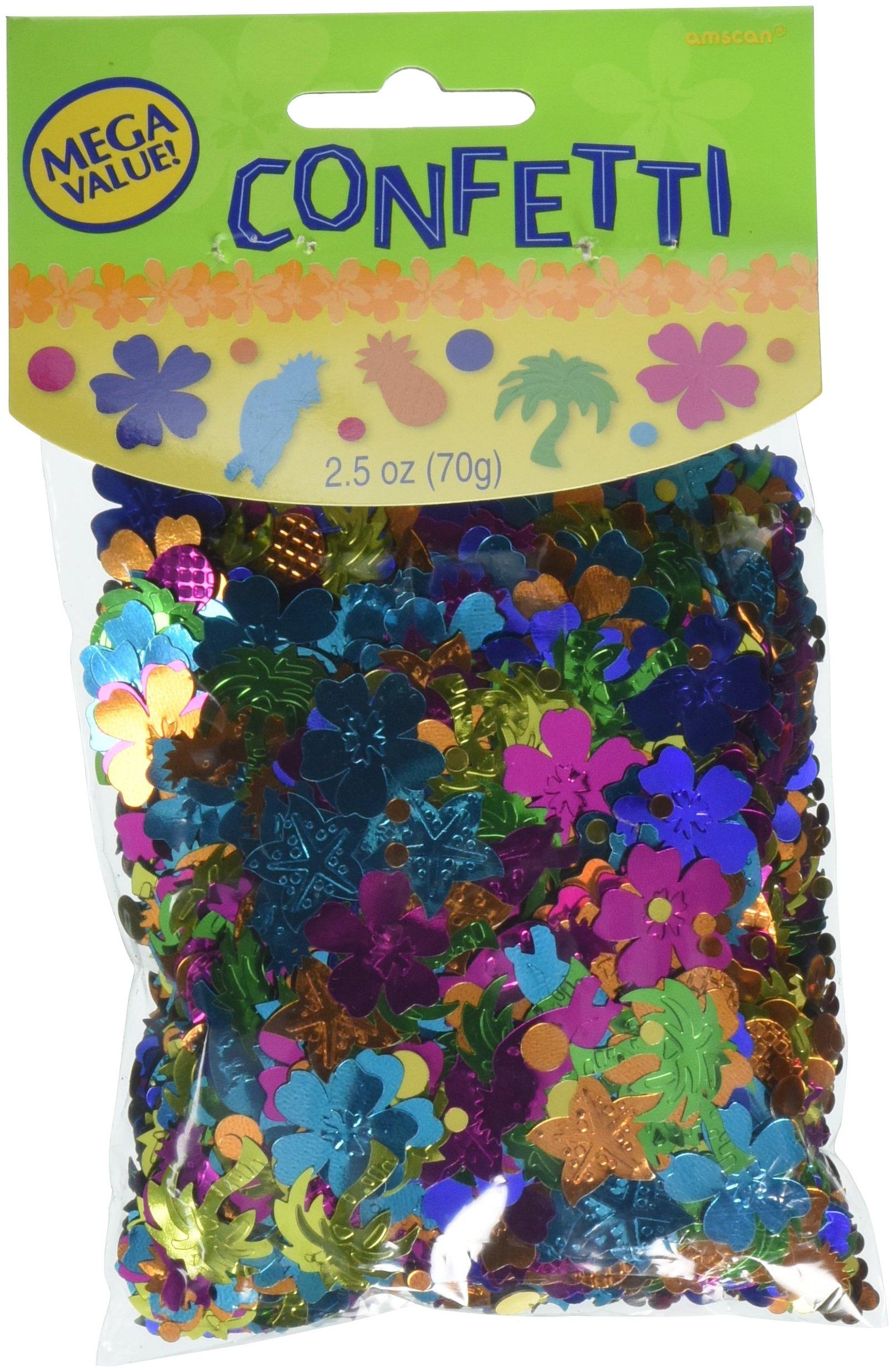 Amscan Tiki Beach Theme Foil Confetti Decoration Mix Party Supplies (12 Piece), Multicolor, 2.5 Oz