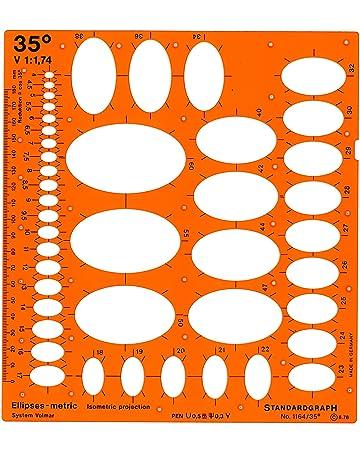 Graphoplex - Plantilla para trazar elipses (35°), color naranja translúcido