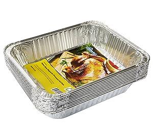 """eHomeA2Z Aluminum Pans Half Size Disposable 9"""" x 13"""" (10 Pack) (10, Half Size)"""