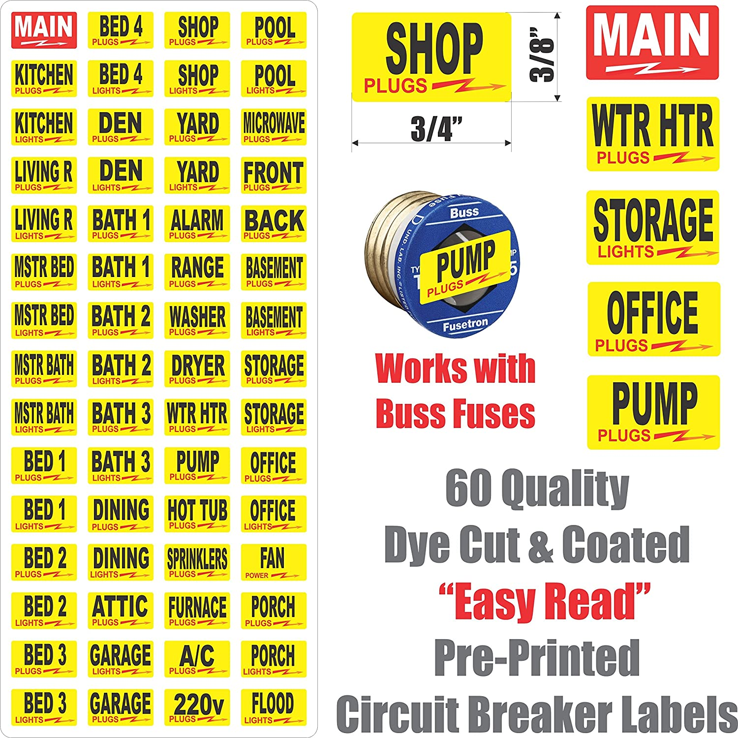 Circuit Breaker Decals 105 Tough Vinyl Labels For Split Bus Electrical Panels No Main Panel Boxes Great Home Or Office Apartment Complexes And Electricians