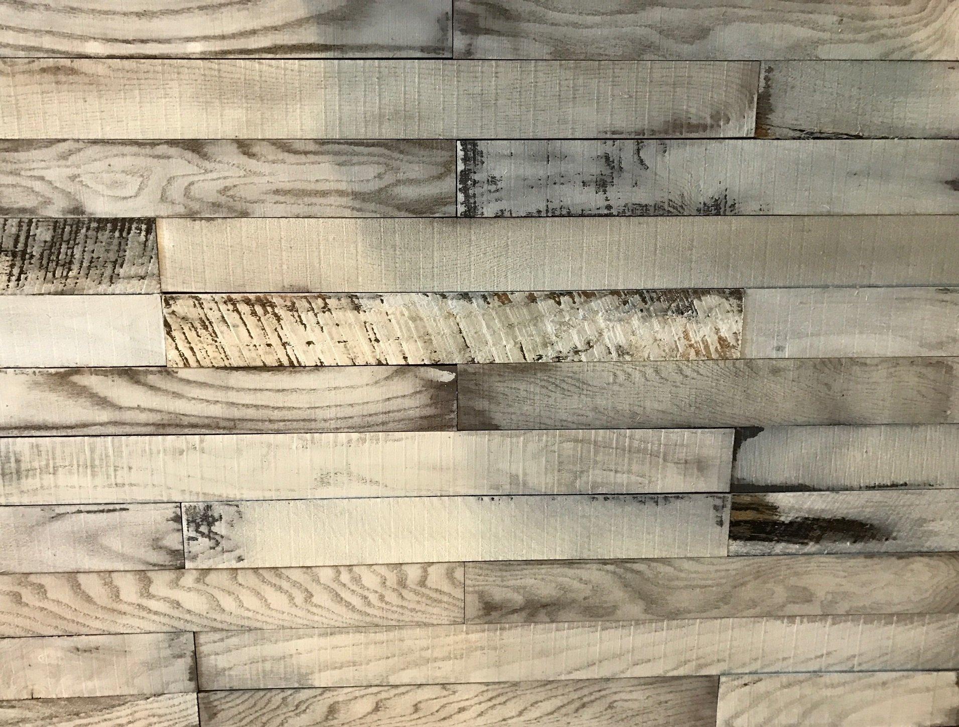 macLEDs PLANK-20SF-whitewash Hardwood Wall Planks 20 Sq.'. Distressed Whitewashed Wood Wall Planks