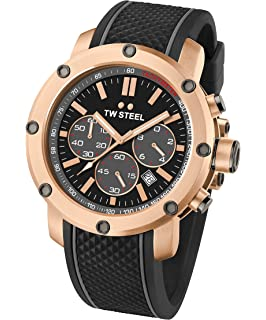 TW Steel Mens TS5 Rose Gold PVD Watch with Black Silicone Band