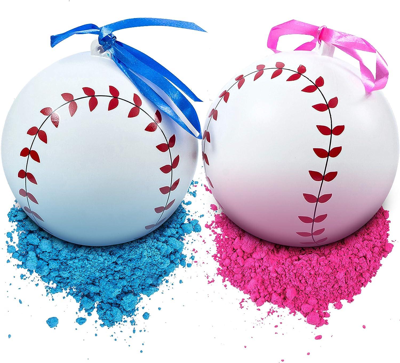 Juego de béisbol de 2 pelotas de béisbol con polvo rosa y azul ...