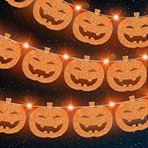 Halloween Pumpkin Banner with 13 Pieces LED Lights, Pumpkin Banner Card Garland with Orange Fairy Lights for Halloween, Thanksgiving, Garden, Indoor, Outdoor Decorations