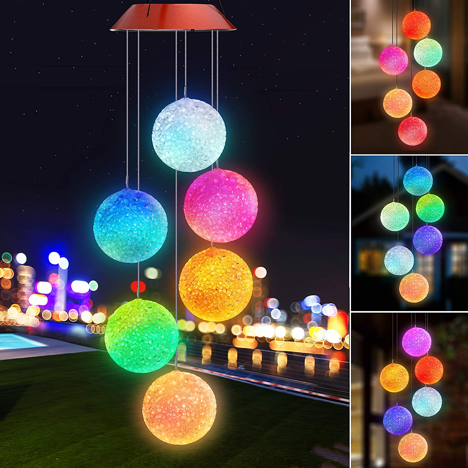 Topspeeder Wind Chimes Crystal Ball Solar Wind Chimes Color Changing Outdoor Waterproof Wind Mobile Led Solar Powered Wind Chimes Outdoor Decor Yard Decorations Copper Board Crystal Ball Garden Outdoor