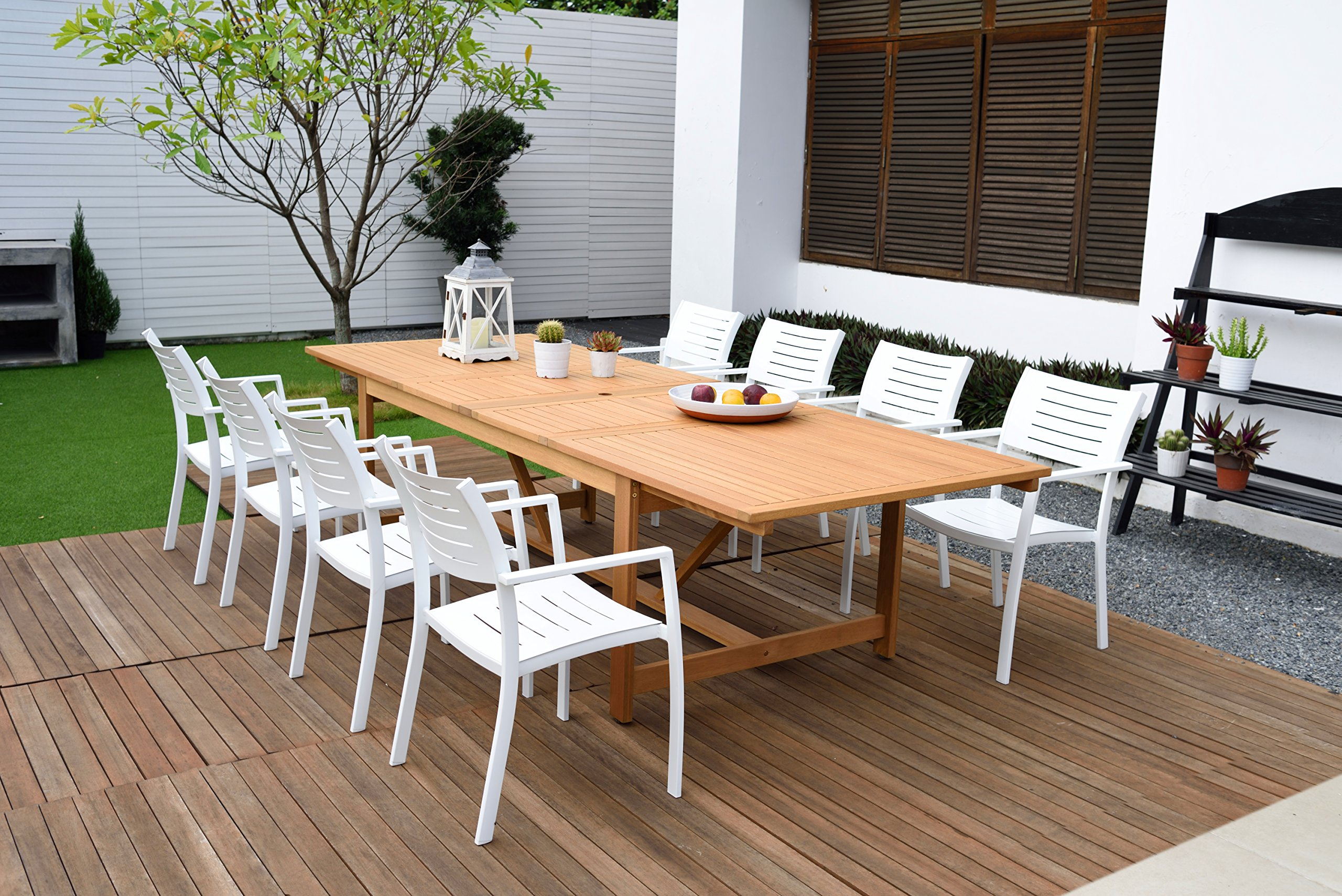Brampton 9 Piece Outdoor Eucalyptus Extendable Dining Set | Perfect for Patio | with Teak Finish, White - Perfect outdoors: 9 Piece patio Dining furniture set, ideal for patios, backyards, gardens, balconies, Poolside and more. Dimensions: Table Dimensions 79L x 42W x 30H Extended Length 118. Chair Dimensions 24L x 23W x 35H Seating Dimensions 17L x 17W x 17H. Table Material: 100% FSC certified High Quality Eucalyptus Wood (Eucalyptus Grandis) with teak finish. Chairs Material: Aluminum. Its resistance to weather and UV radiation makes the set durable and enjoyable. - patio-furniture, dining-sets-patio-funiture, patio - 91 QB0wg0jL -