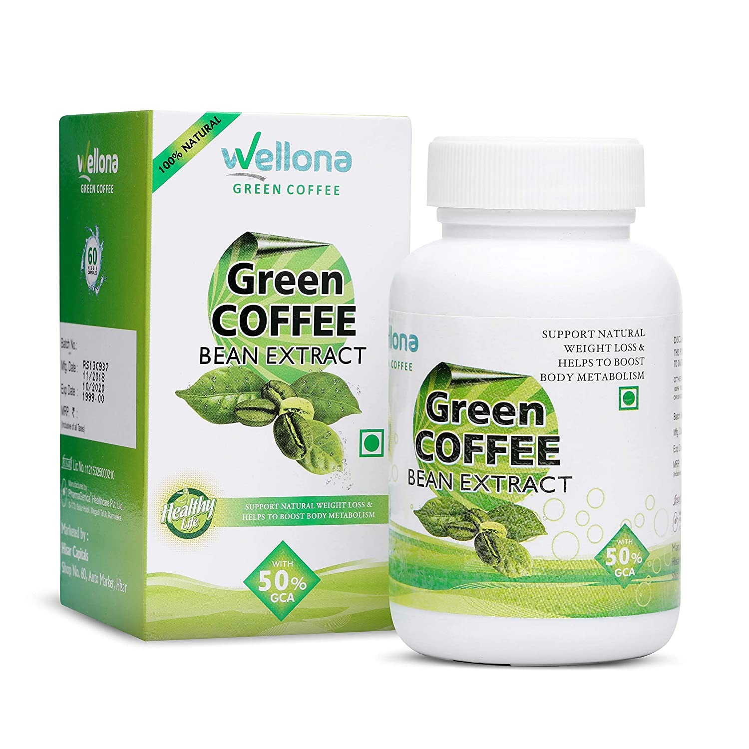 Buy Wellona Green Coffee Bean Extract Capsules For Ultra Weight