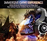 Beexcellent Gaming Headset for PS4 Xbox One PC with Noise Isolation Mic Crystal Stereo Surround Sound LED Lights