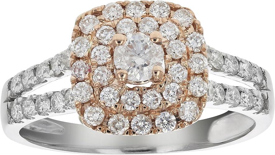 Women Halo Diamond Vintage Engagement Ring Rose Gold Zircon Ring Wedding Ring HQ