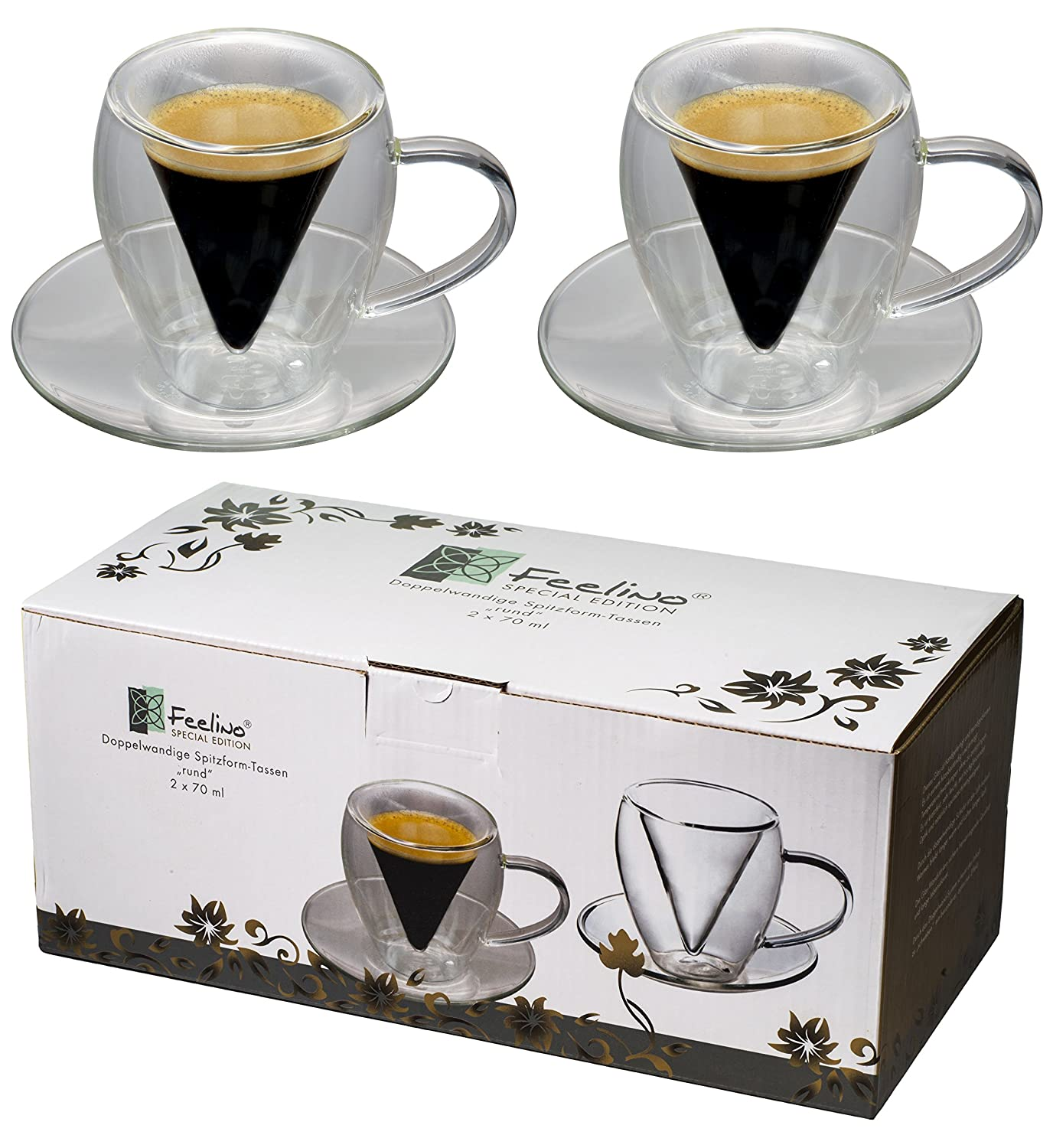 2x 70ml double-walled round glass cups