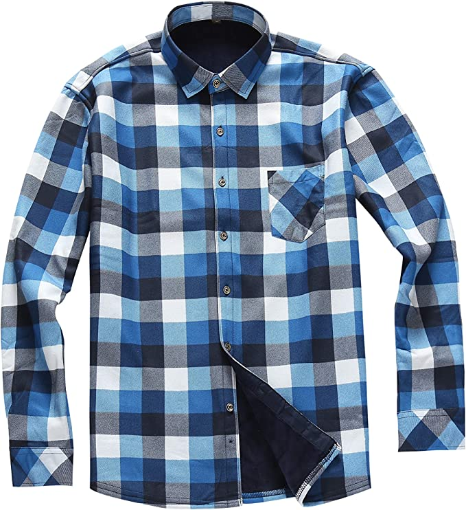 AOLIWEN Men's Long Sleeve Shirts- Thermal Work Padded Warm Shirts Quilted Lined Flannel Heavyweight Plaid Fleece Shirt(C9058,M)