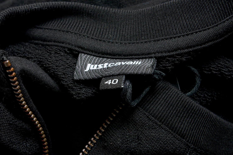 Just Cavalli Black Logo Printed Womens Sweatshirt Crew US S IT 40