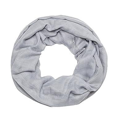 b98d9e70114050 MANUMAR Loop-Schal für Damen einfarbig | feines Hals-Tuch in hell-grau