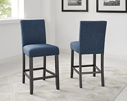 Roundhill Furniture Biony Blue Fabric Counter Height Stools With Nailhead  Trim, Set Of 2