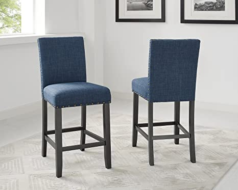 Sensational Biony Blue Fabric Counter Height Stools With Nailhead Trim Set Of 2 Cjindustries Chair Design For Home Cjindustriesco