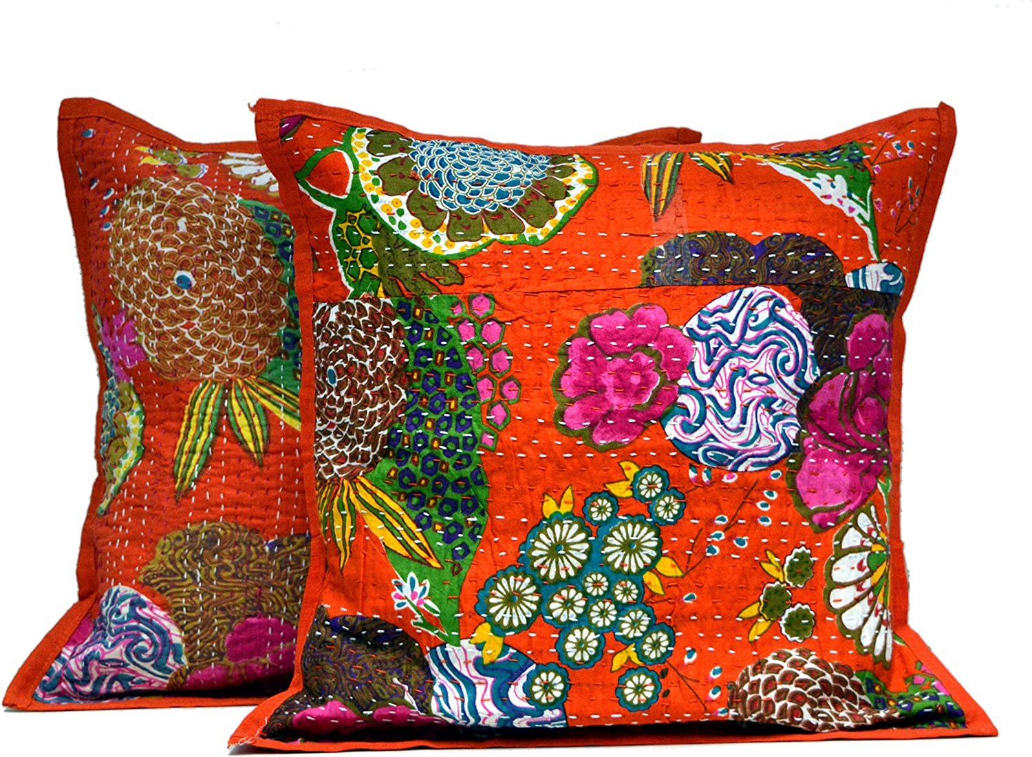 Amazon Com Third Eye Export 2 Orange Indian Kantha Stitch Handmade Floral Decorative Throw Pillow Cases Cushion Covers Home Kitchen