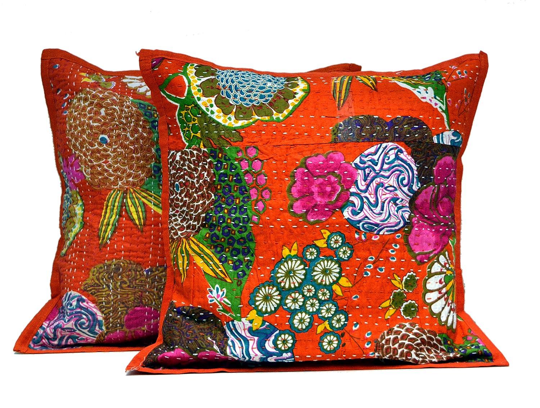 Amazon.com: 17 Orange Indian Kantha Stitch Handmade Floral ...