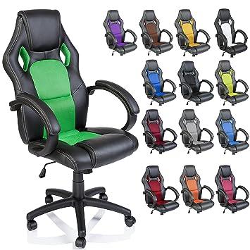 TRESKO Silla giratoria de oficina Sillón de escritorio Racing disponible en 14 colores, bicolor, silla Gaming ergonómica, cilindro neumático ...
