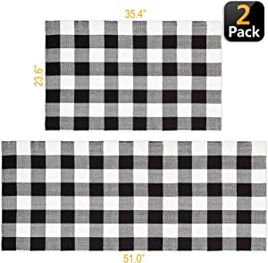 Classic Buffalo Black & White Plaid Checkered Rug | Set of 2 Indoor & Outdoor Area Rug & Runner Combo – Thick, Durable & Versatile – Doormat Hallway Laundry Living Foyer or Kitchen by Swift Creek