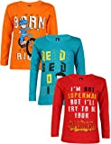 Maniac Cotton Full Sleeve Tshirt for T-Shirt, 2-3 Years(Multicolour, ML-KIDS-FS-RED-PETROL-ORANGE-2-3) - Pack of 3