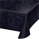 """Creative Converting 725533 Space Blast All Over Print Plastic Tablecover, 54 by 108"""", Black"""