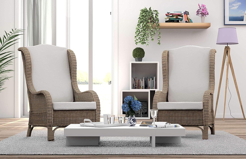 Rotin Design REBAJAS : -47% Sillon de ratan de comedor o de salon Nassau marron, moderno y barato