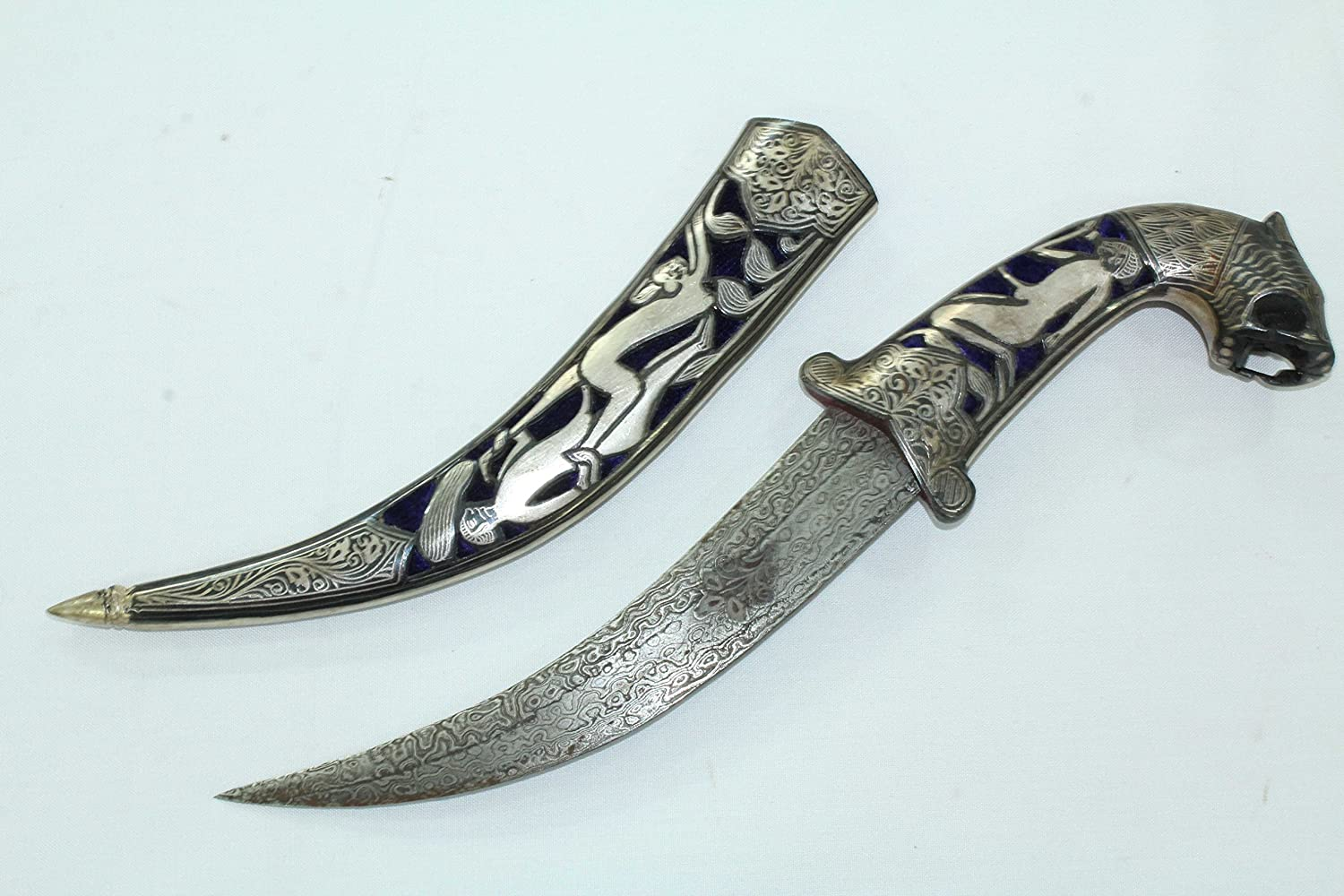 Amazon.com: Rajasthan Gems Dagger Knife Damascus blade silver wire ...