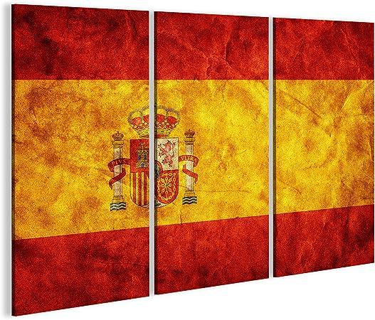 Cuadro Cuadros España Bandera del Grunge, Época de Estilo Retro. Alta resolución, Calidad de Alta definición. artículo Impresión sobre Lienzo - Formato Grande - Cuadros Modernos DJE: Amazon.es: Hogar