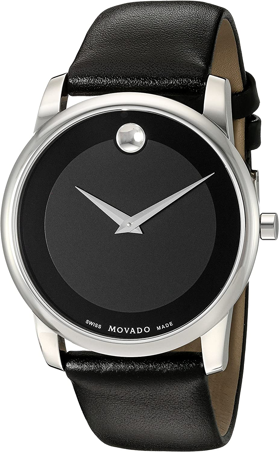 Movado Men s 0606502 Museum Stainless Steel Watch with Black Leather Band