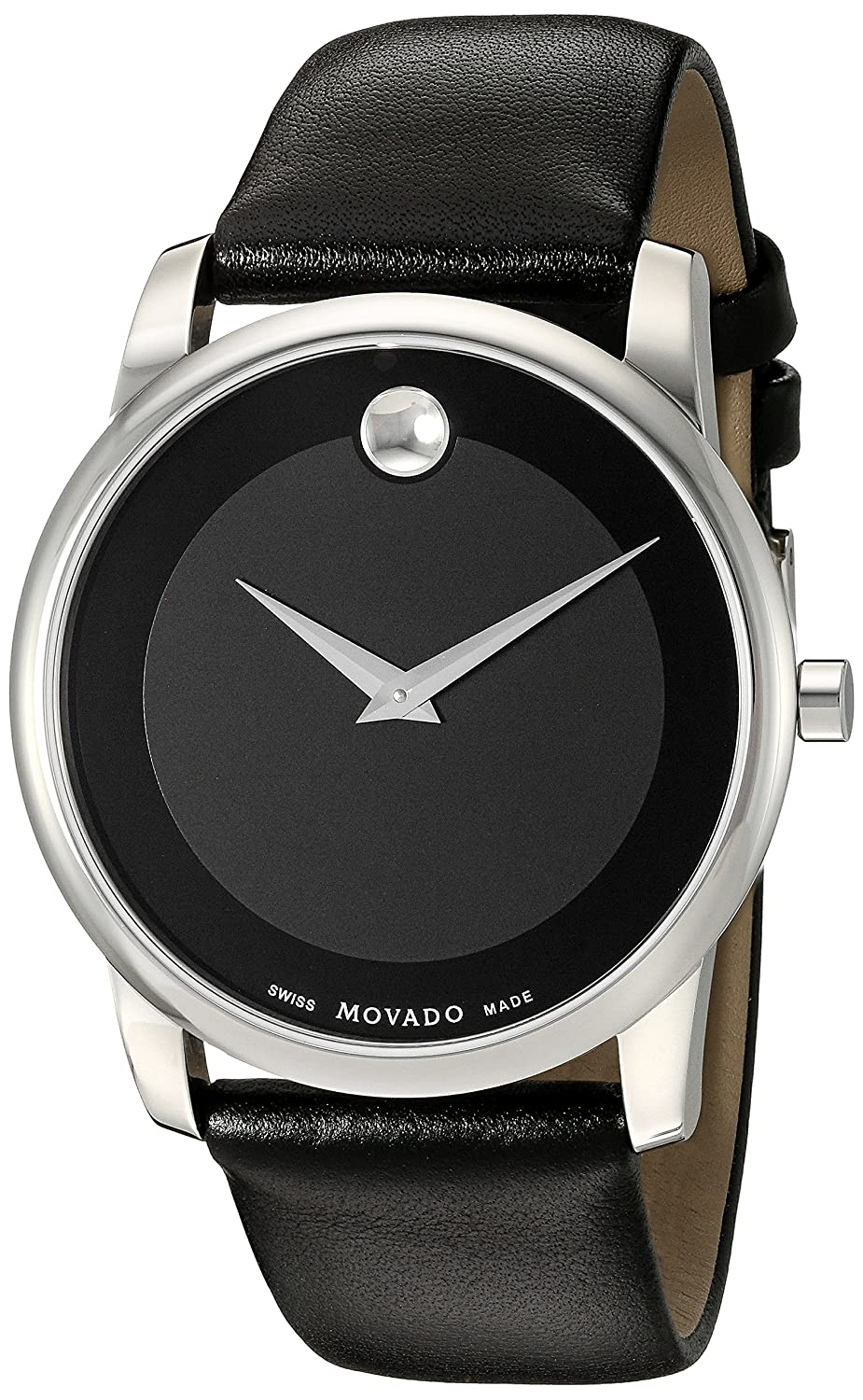 b7614abc0 Amazon.com: Movado Men's 0606502 Museum Stainless Steel Watch with Black  Leather Band: Movado: Watches