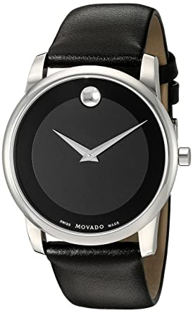 9d2366618265a4 Movado Men's 0606502 Museum Stainless Steel Watch with Black Leather Band