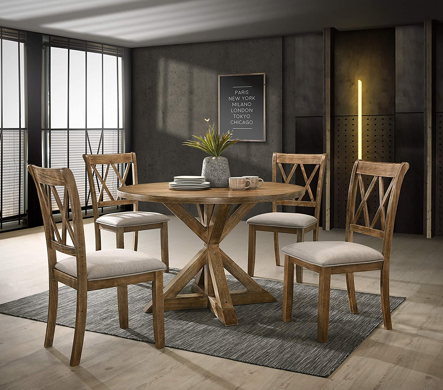 Roundhill Furniture Windvale Cross-Buck Wood 5-Piece Dining Set, Brown