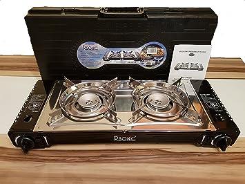RSonic Deluxe Cromo portátil doble Hornillo de gas Incluye plancha con seguro