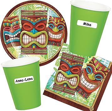 CARPETA® 40 piezas Party * Tiki Time * con plato + taza + Nombre ...