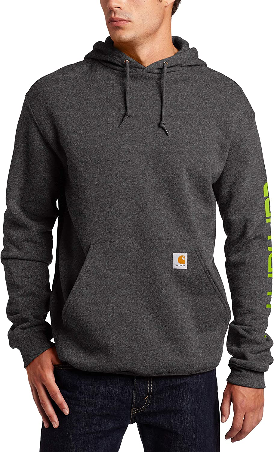 Carhartt Men's Midweight Sleeve Logo Hooded Sweatshirt (Regular and Big & Tall Sizes): Clothing
