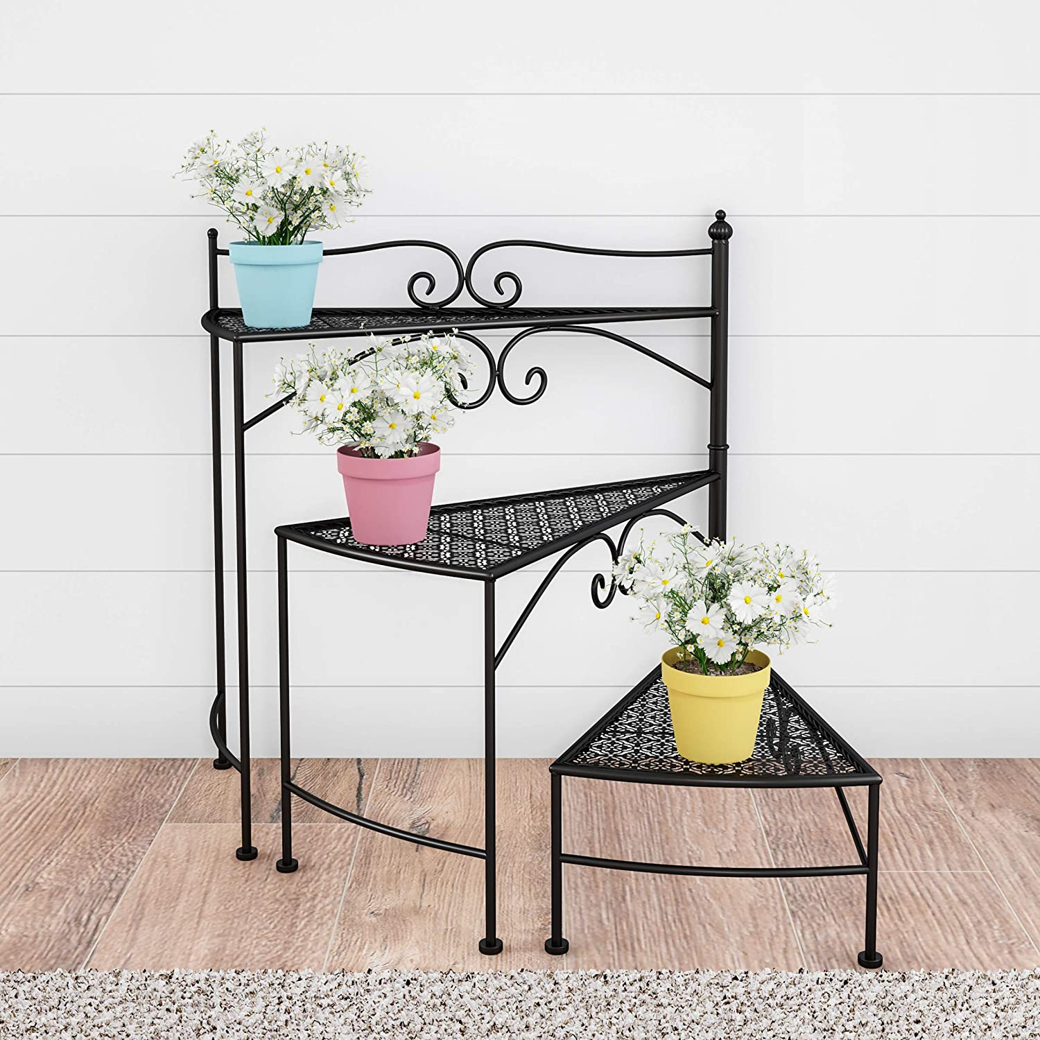 Pure Garden 50-LG1152 Plant Stand – 3-Tier Indoor or Outdoor Folding Spiral Stairs Wrought Iron Metal Home and Garden Display with Staggered Shelves (Black)