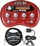 Line 6 Pocket POD Multi-Effects Processor with Belt Clip Bundle with Blucoi Bundle with Blucoil Slim 9V 670ma Power…