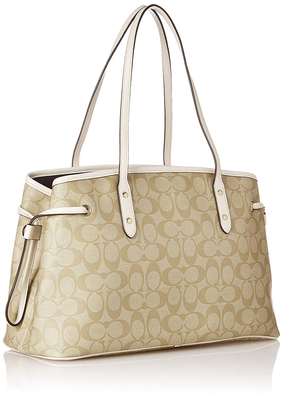 d3f3097657 Details about NWT Coach Signature Canvas Drawstring Carryall Shoulder Bag  F57842 IMDQC