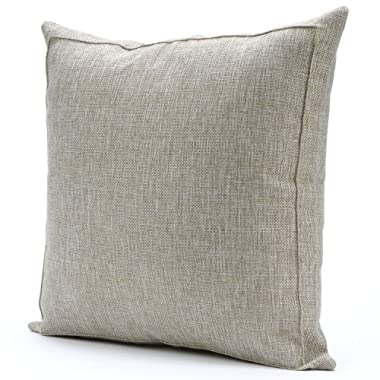 Jepeak Burlap Linen Throw Pillow Case Cushion Cover Farmhouse Decorative Solid Square Pillowcase, Thick Luxury Handmade with Invisible Zipper for Sofa Couch (24 x 24 Inches, Beige with Khaki Threads)