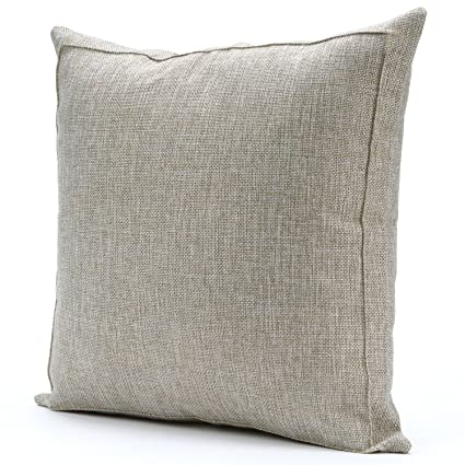 Jepeak Burlap Linen Throw Pillow Case Cushion Cover Farmhouse Decorative  Solid Square Pillowcase, Thick Luxury