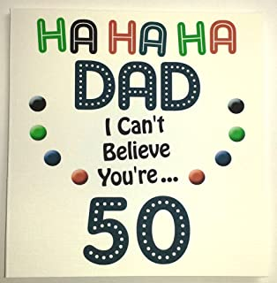 Dad happy 50th black mens socks for 50th birthday present amazon happy birthday card dad funny 50th birthday handmade card bookmarktalkfo Image collections